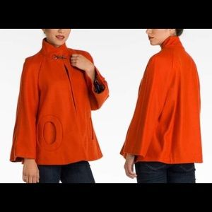 Cozy Red Orange Betsey Johnson Wool Cape
